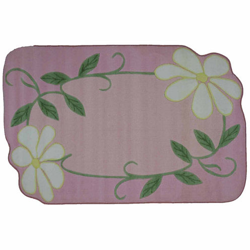 Pink Daisy Field Rectangular Rugs
