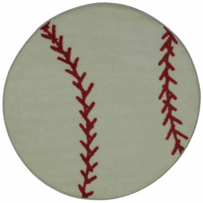 Baseball Round Indoor Accent Rug