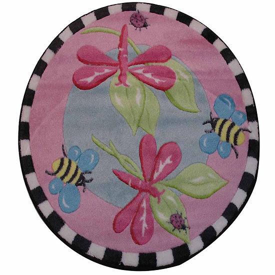 Pink Dragonfly Round Indoor/Outdoor Rugs