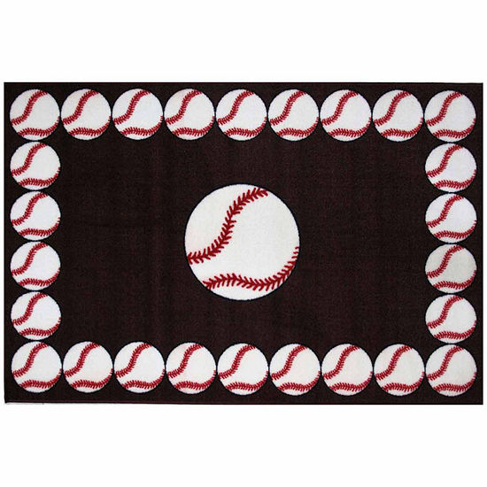 Baseball Time Rectangular Indoor Rugs