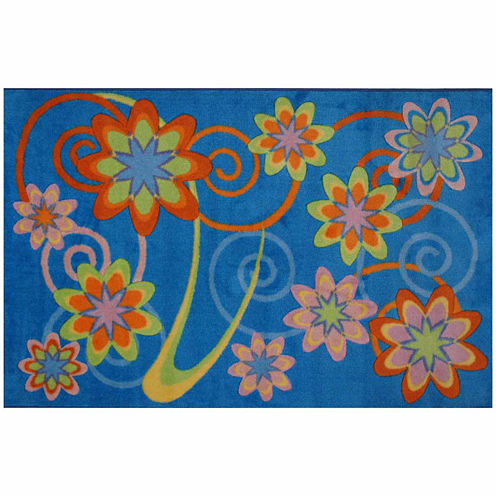 Flower Burst Rectangular Rugs