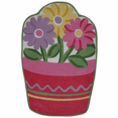 Flower Pot Rectangular Rugs