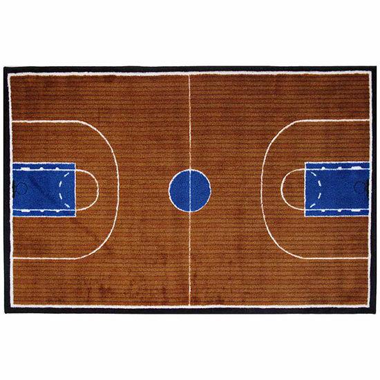 Basketball Court-Supreme Rectangular Indoor Rugs