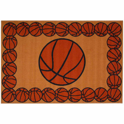 Basketball Time Rectangular Indoor Accent Rug