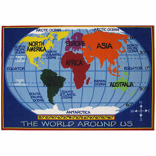 Kids World Map Rectangular Indoor Rugs