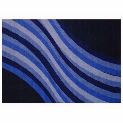 Wacky Blue Wave Rectangular Rugs