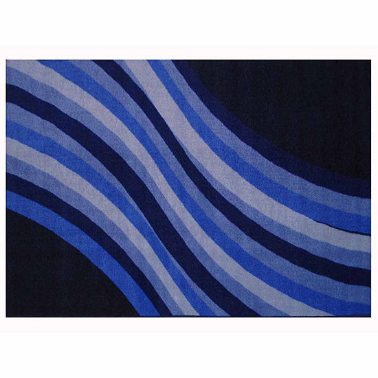 Wacky Blue Wave Rectangular Indoor Rugs