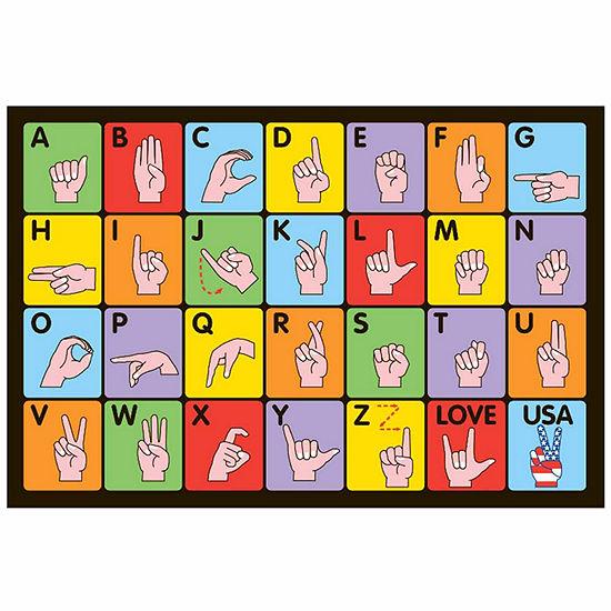 Sign Language Rectangular Indoor Rugs