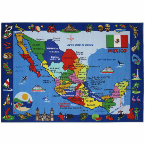 Map Of Mexico Rectangular Rugs