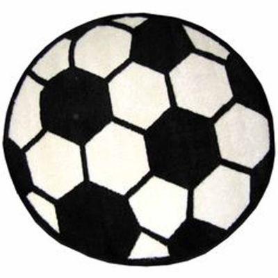 Soccerball Round Indoor Accent Rug