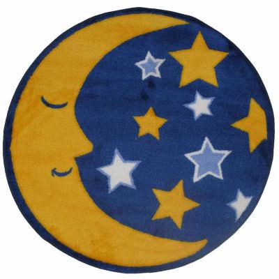 Moon & Stars Round Indoor Accent Rug
