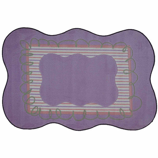 Girls Scalloped Rectangular Indoor Rugs