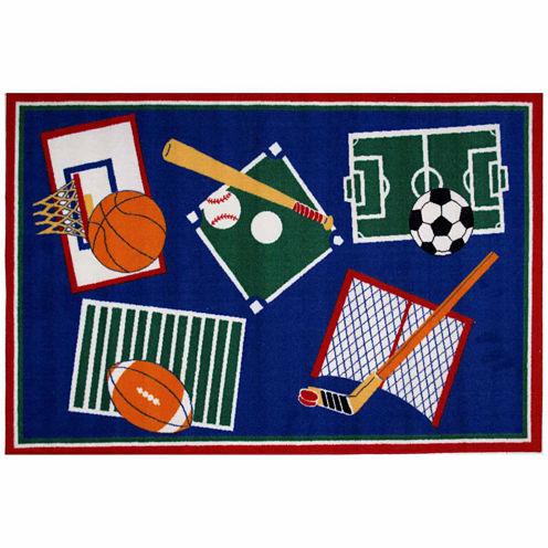 Sports A Rama Rectangular Rugs