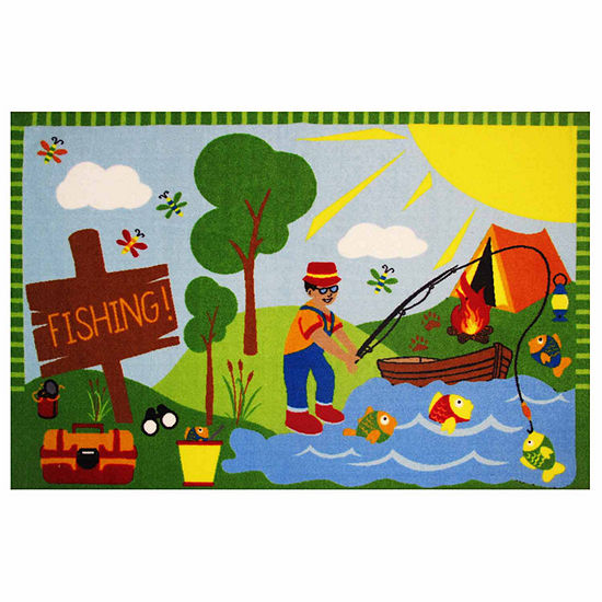 Gone Fishing Rectangular Indoor Rugs