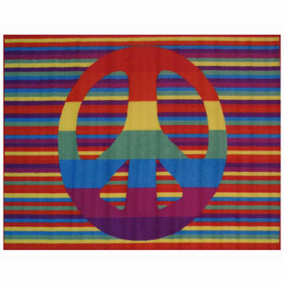 Groovy Peace Rectangular Indoor Accent Rug