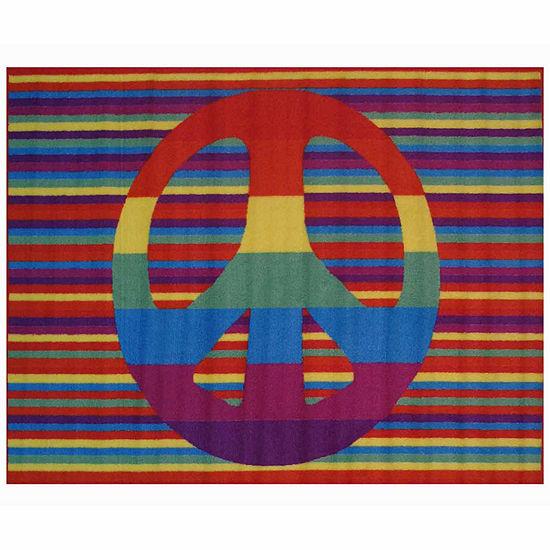 Groovy Peace Rectangular Indoor Rugs