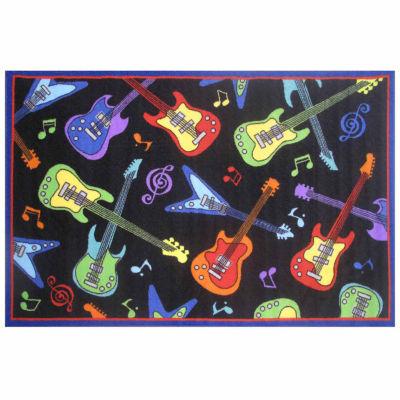 Guitars Rectangular Indoor Accent Rug