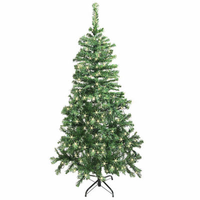ALEKO Christmas Artificial Holiday Tree  with Soft White LED Lights