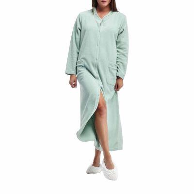 La Cera Plus Size Snap Front Fleece Robe - Plus