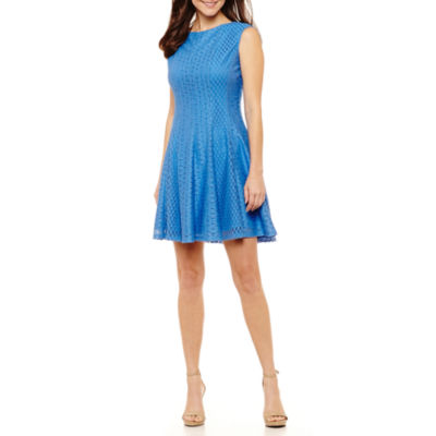 Danny & Nicole Short Sleeve Circles Fit & Flare Dress-Petites