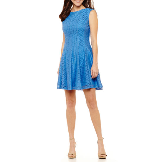 Danny & Nicole Sleeveless Circles Fit & Flare Dress-Petite