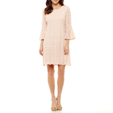 Ronni Nicole 3/4 Sleeve Medallion Shift Dress-Petites