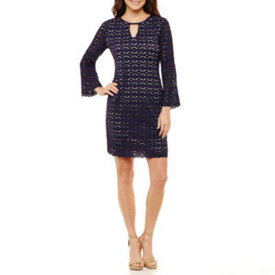 Ronni Nicole 3/4 Sleeve Circles Shift Dress-Petites