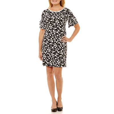 Perceptions Short Sleeve Dots Shift Dress-Petite