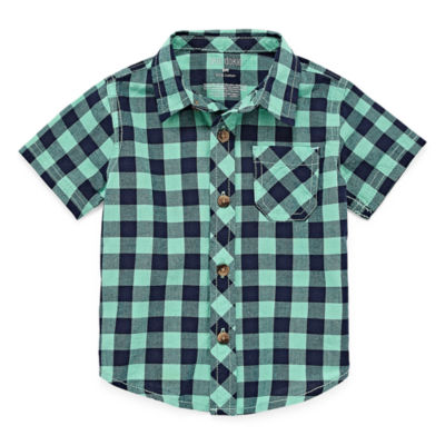 Okie Dokie Green Plaid Short Sleeve Button-Down Woven - Baby Boy 3M-24M