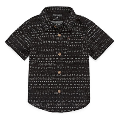 Okie Dokie Short Sleeve Button-Front Shirt Baby Boy NB-24M