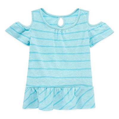 Okie Dokie Cold Shoulder Short Sleeve  T-Shirt-Baby Girls NB-24M