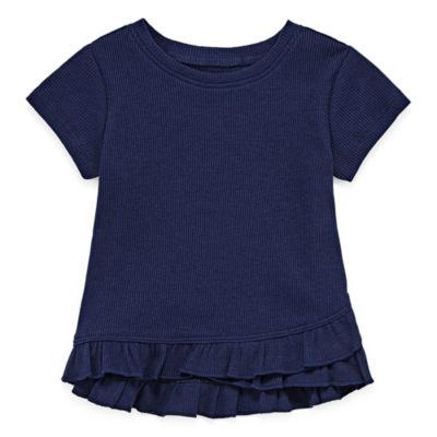 Okie Dokie Short Sleeve Peplum Top -Baby Girl NB-24M