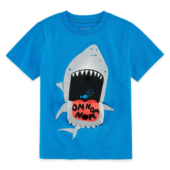Okie Dokie Graphic Velcro at Sharks mouth Short Sleeve T-Shirt-Toddler Boys