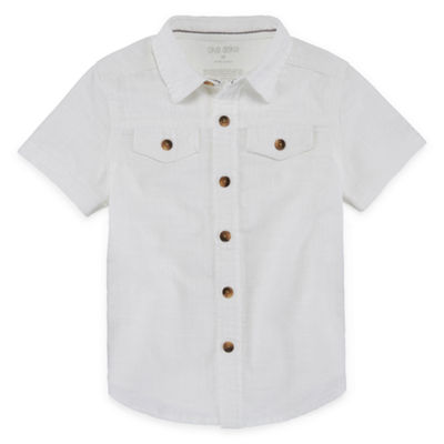 Okie Dokie Short Sleeve Button-Front Shirt-Toddler Boys