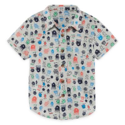 Okie Dokie Short Sleeve Button-Front Shirt-Toddler Boys