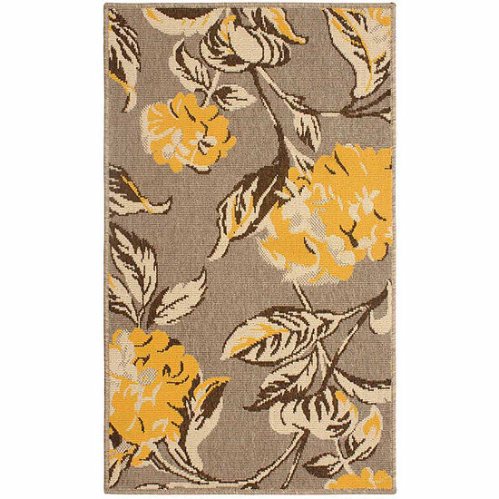 Laura Ashley Hydrangea Indoor Outdoor Rectangularaccent Rug