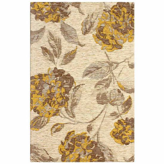 Laura Ashley Hydrangea Jacquard Chenille Textured Rectangular Area Rug