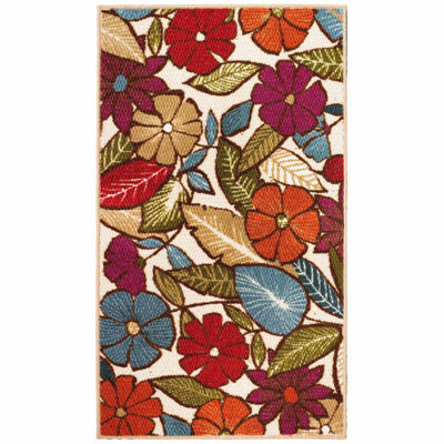 Modern Living Flowers Decorative Rectangular Accent Rug