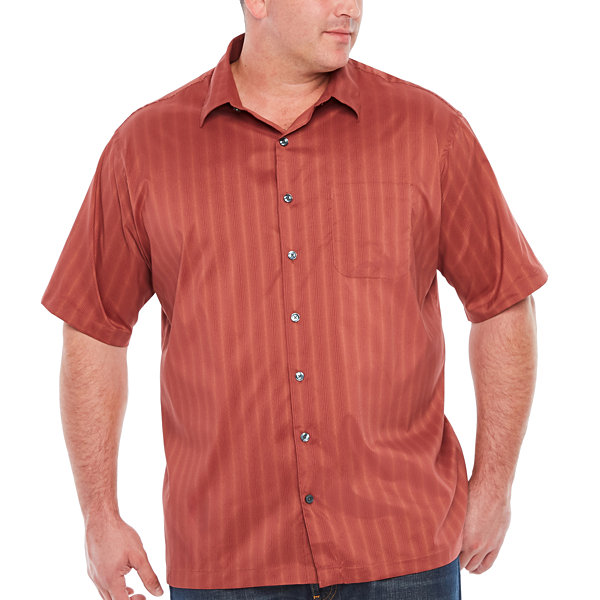 Van Heusen Short Sleeve Non-Iron Polyester Yarndyes Button-Front Shirt-Big & Tall