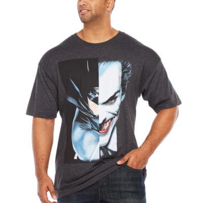 Batman Joker Split Screen Short Sleeve Graphic T-Shirt-Big and Tall