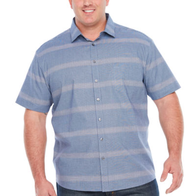 Claiborne Short Sleeve Gingham Button-Front Shirt-Big and Tall