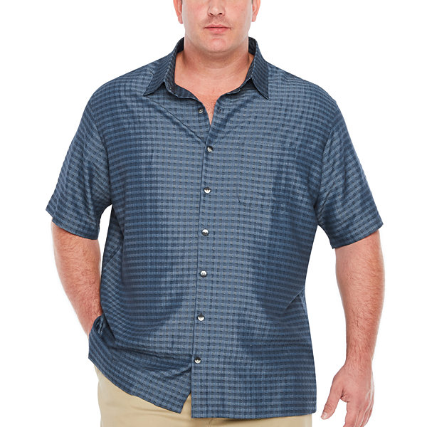Van Heusen Ss Air Rayon Poly Grid Short Sleeve Grid Button-Front Shirt-Big and Tall