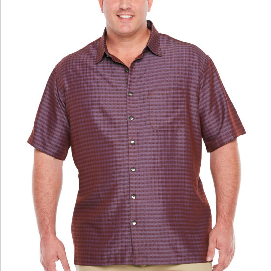 Van Heusen Air Rayon Poly Short Sleeve Grid Button-Front Shirt-Big and Tall