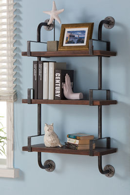 "Armen Living 40"" Booker Industrial Pine Wood Floating Wall Shelf"