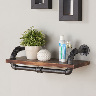 "Armen Living 24"" Isadore Industrial Pine Wood Floating Wall Shelf"