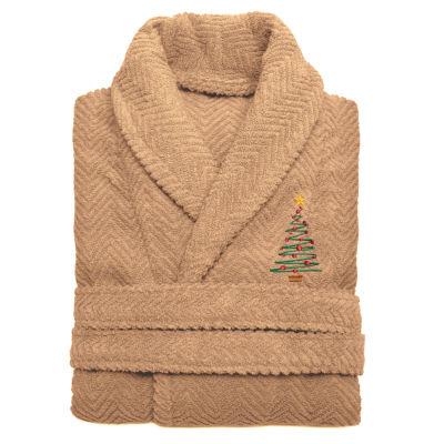 Linum Home 100% Turkish Cotton Herringbone Weave Embroidered Bathrobe - Christmas Tree