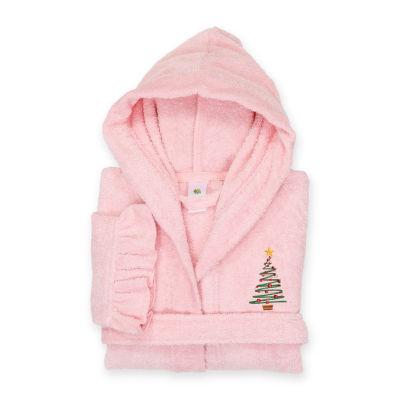 Linum  Kids 100% Turkish Cotton Hooded Terry Bathrobe With Ruffle - Christmas Tree Design