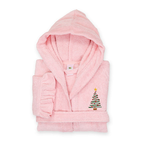 Linum  Kids 100% Turkish Cotton Hooded Terry Bathrobe With Ruffle - Christmas Tree Design