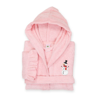 Linum  Kids 100% Turkish Cotton Hooded Terry Bathrobe With Ruffle - Snowman Design