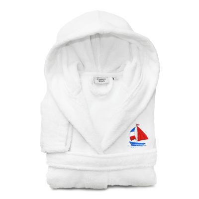 Linum Kids 100% Turkish Cotton Hooded  Terry Bathrobe -Boat